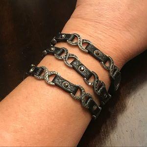 Black Leather Triple Wrap Bracelet from Nordstrom